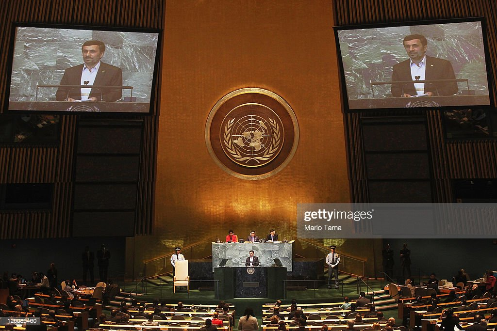 The President of Iran <a gi-track='captionPersonalityLinkClicked' href=/galleries/search?phrase=Mahmoud+Ahmadinejad&family=editorial&specificpeople=221337 ng-click='$event.stopPropagation()'>Mahmoud Ahmadinejad</a> speaks during the United Nations General Assembly at UN headquarters on September 22, 2011 in New York City. This is the 66th session of the United Nations General Assembly including heads of state from over 120 countries.