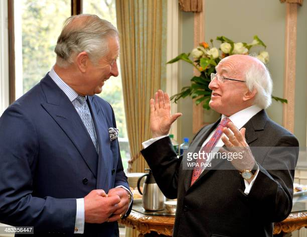 The President of Ireland Michael D Higgins talks with the Prince Charles Prince of Wales as the Prince welcomed him to the UK for a five day state...