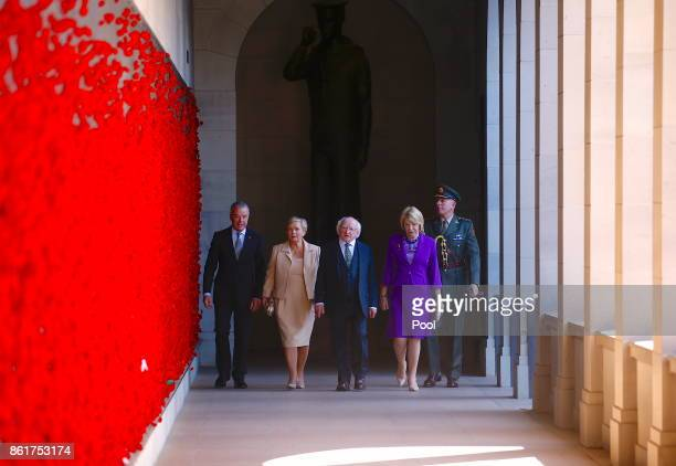 The President of Ireland Michael Higgins walks with his wife Sabina Brendan Nelson Director of the Australian War Memorial and Frances Fitzgerald...