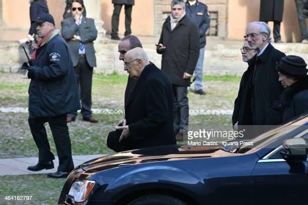 The President of Italian Republic Giorgio Napolitano leave the church Basilica di Santo Stefano after visit the burial chamber of his friend the...