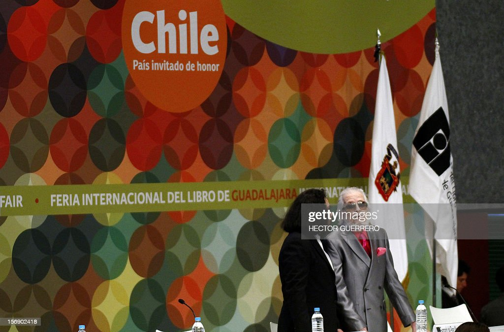 The president of Mexico's Council for Culture and Arts (CONACULTA in Spanish) Consuelo Saizar (L) speaks with Mexican writer Fernando del Paso during the opening ceremony of the International Book Fair of Guadalajara, on November 24, 2012. AFP PHOTO/Hector Guerrero
