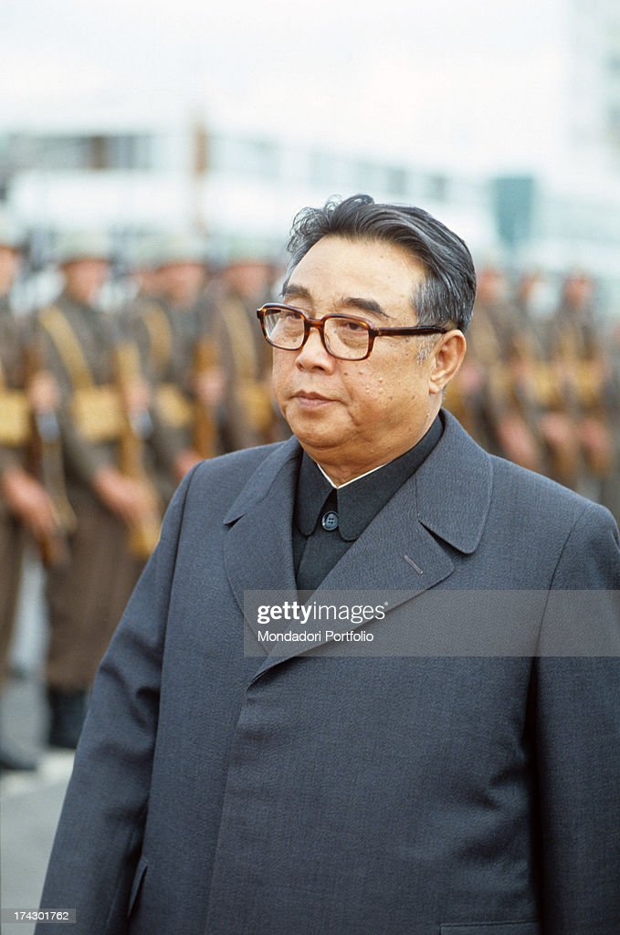 The president of North Korea, Kim Il Sung, born Kim Song-ju, walks in front of a military line at the funeral of the Marshal Tito. Belgrade, 8th May 1980..
