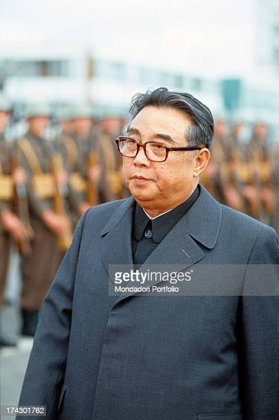The president of North Korea Kim Il Sung born Kim Songju walks in front of a military line at the funeral of the Marshal Tito Belgrade 8th May 1980