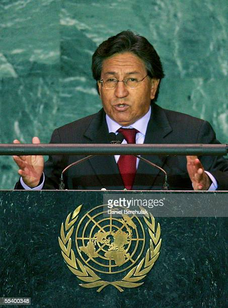 The President of Peru Alejandro Toledo Manrique adresses he United Nations General Assembly on September 14 2005 in New York The 60th session of the...