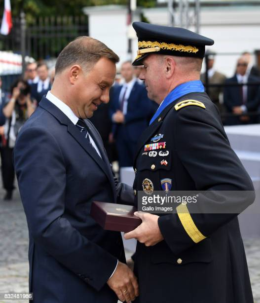 The president of Poland Andrzej Duda gives medal to american general Ben Hodges during the ceremony of celebration Polish Army Day on August 15 2017...