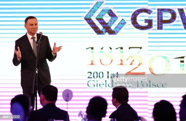 The President of Poland Andrzej Duda participates in the Jubilee Gala of the 200th anniversary of the Warsaw Stock Exchange on May 24 2017 in Warsaw...