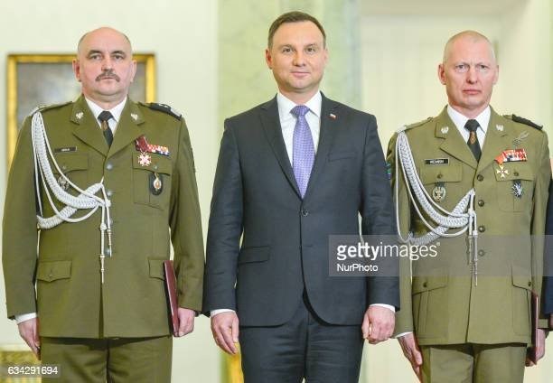 The President of Poland Andrzej Duda takes a piuctures with two Generals at the end of the official ceremony where he removed General Miroslaw...