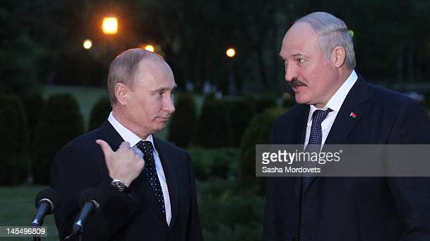 The President of Russia Vladimir Putin and the President of Belarus Alexander Lukashenko speak at a press conference on May 31 2012 in Minsk Belarus
