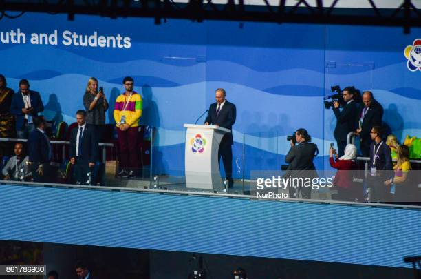 The president of Russia Vladimir Putin welcome the participants during the Grand Opening Ceremony of 19th World Festival of Youth and Students in...
