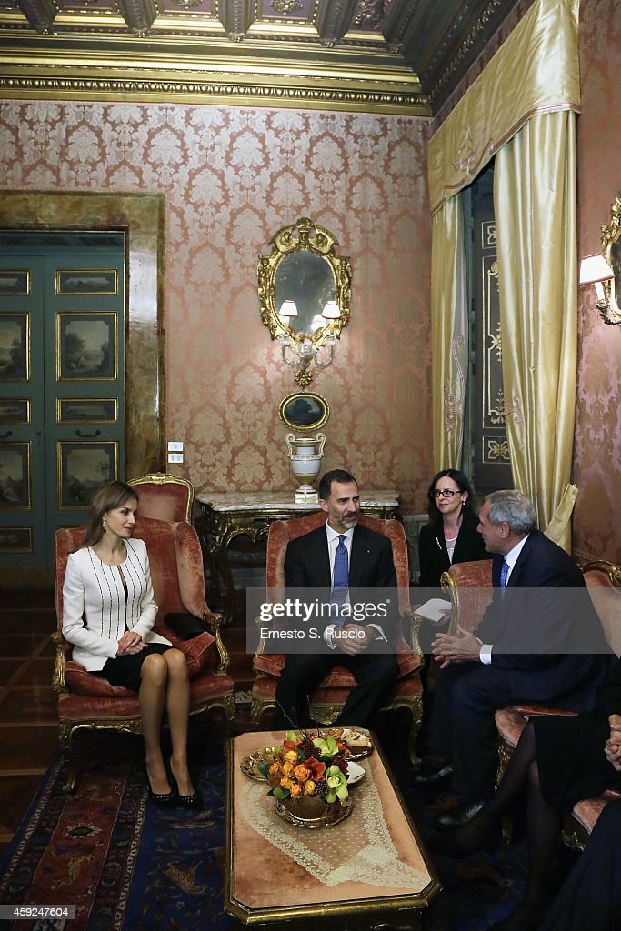 The President of Senato Pietro Grasso meet Queen Letitia of Spain and King Felipe of Spain at Palazzo Madama during the Spanish Royals Visit in Rome on November 19, 2014 in Rome, Italy.