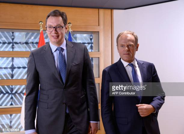 The President of Serbia Aleksandar Vucic is seen with European Union Council President Donald Tusk prior to their meeting at the European Union...