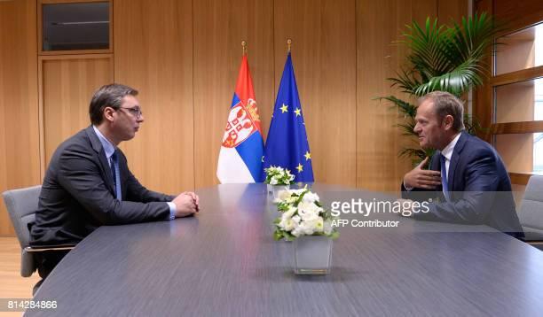 The President of Serbia Aleksandar Vucic meets with European Union Council President Donald Tusk at the European Union Council building in Brussels...