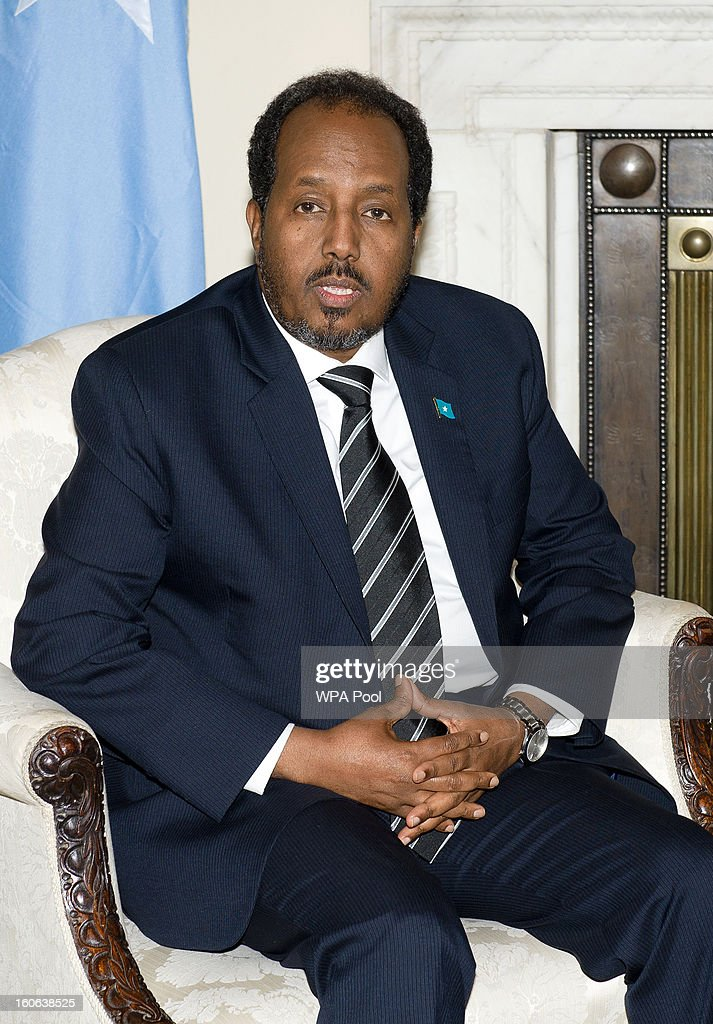 The President Of Somalia, Hassan Sheikh Mohamud, during his meeting with British Prime Minister David Cameron at 10 Downing Street on February 4, 2013 in London, England. The UK is to give an aid package of nearly 3 million GBP to the Somali government for the feeding of malnourished citizens.