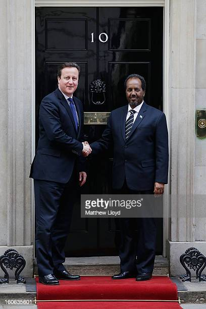 The President Of Somalia Hassan Sheikh Mohamud is greeted by Prime Minister David Cameron at 10 Downing Street on February 4 2013 in London England...