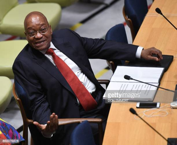 The President of South Africa Jacob Zuma attends the signing ceremony for the Treaty on the Prohibition of Nuclear Weapons on September 20 at the...