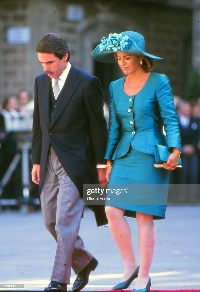 The President of Spain Jose Maria Aznar and his wife Ana Botella at the wedding of the Infanta Cristina daughter of the Spanish Kings Juan Carlos and...