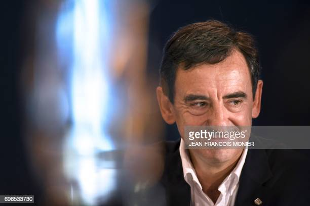 The President of the Automobile Club de lOuest Pierre Fillon in charge of the organisation of the Le Mans 24hour endurance race gives a press...