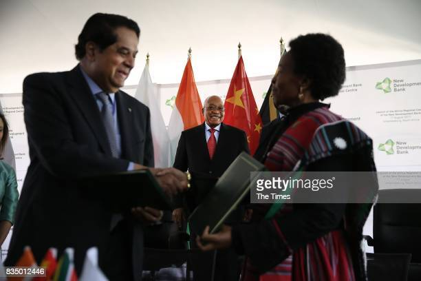 The president of the Brics New Development Bank KV Kamath and International Relations Minister Maite NkoanaMashabane during the launch of the bank at...
