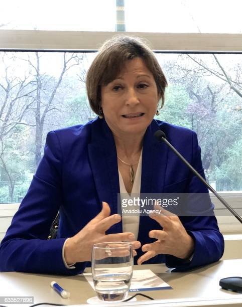 The President of the Catalan Parliament Carme Forcadell speaks during an interview with the foreign press members in Madrid Spain on February 02 2017