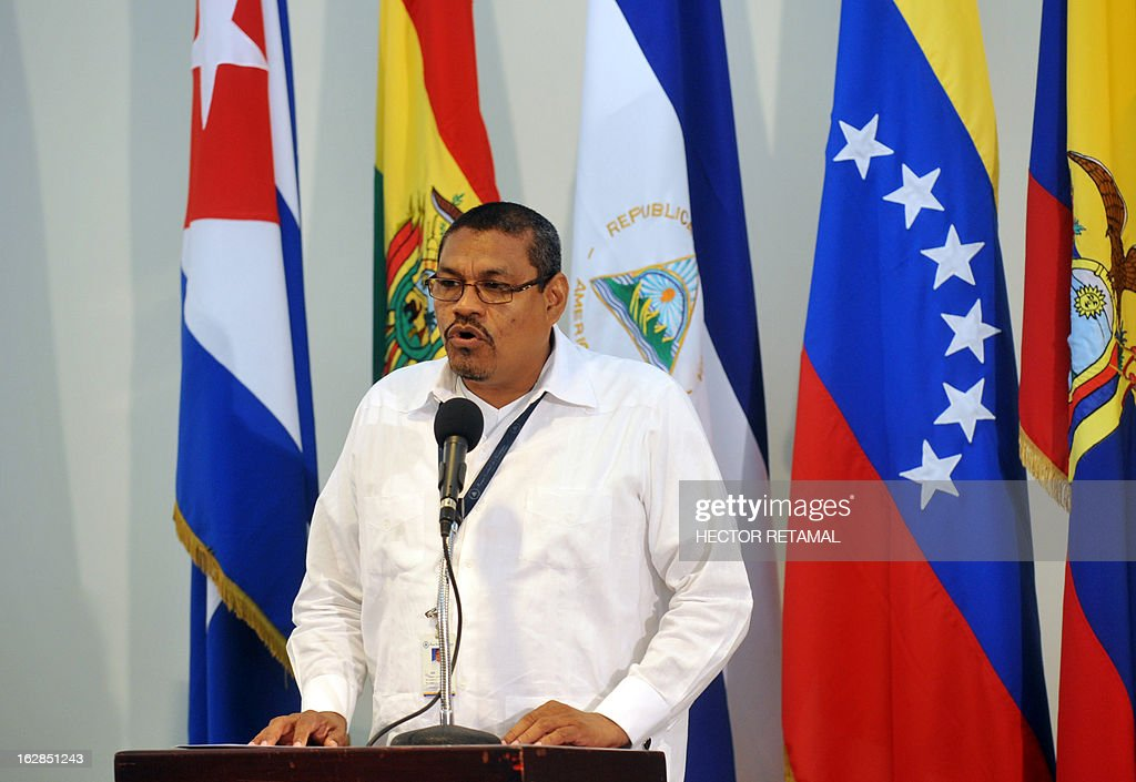 The President of the Central Bank of Nicaragua, Alberto Guevara, speaks during the ceremony in which Nicaragua made its first commercial transaction with the Unified Regional Compensation System, or Sucre, with Venezuela, in Managua, on February 28, 2013. The leftist Latin American ALBA trade bloc replaced the US dollars with the new virtual currency, the Sucre, for regional commerce. APFP PHOTO/Hector RETAMAL