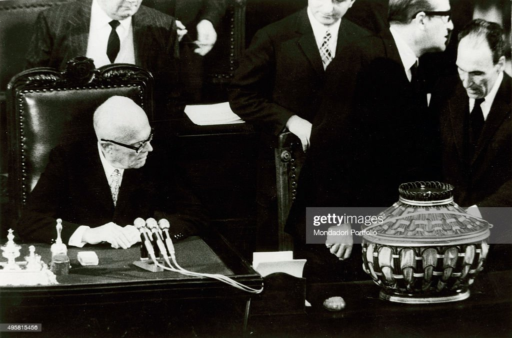 The President of the Chamber of Deputies of the Italian Republic Sandro Pertini watching the ballot box during the election of the new Head of State...