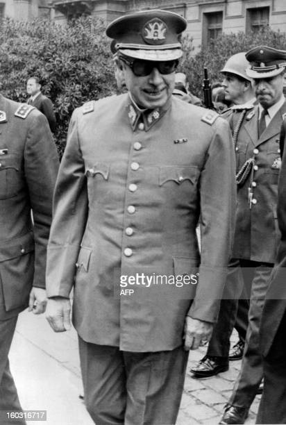 The president of the Chilean military junta General Augusto Pinochet smiles in Santiago in September 1973 following the CIAaided coup against...