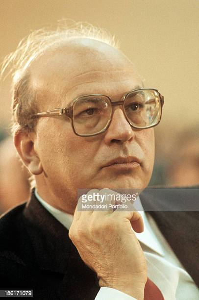 The President of the Council of Ministers of the Italian Republic Bettino Craxi taking part in a public meeting 1980s