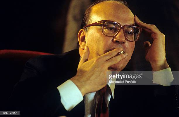 The President of the Council of Ministers of the Italian Republic Bettino Craxi smoking 1980s