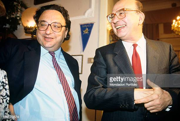 The President of the Council of Ministers of the Italian Republic Bettino Craxi and the Minister of Labour and Social Security of the Italian...