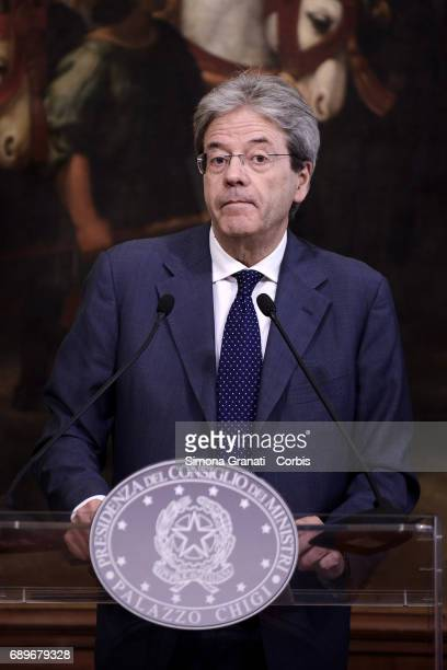 The President of the Council Paolo Gentiloni signed the Investment Fund allocation decree at Palazzo Chigi on May 29 2017 in Rome Italy
