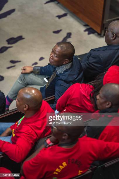 The president of the Economic Freedom Fighters Julius Malema attends a hearing brought by opposition parties seeking an order to impeach South...