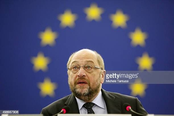 The President of the EU Parliament Martin Schulz arrives in the plenary room in the European Parliament ahead of the debate on the measures to fight...