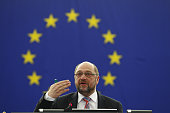 The President of the EU Parliament Martin Schulz arrives in the plenary room in the European Parliament ahead of the debate on the ECB report for...