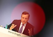 The President of the European Central Bank Mario Draghi addresses the media during a press conference following a meeting of the ECB's Governing...