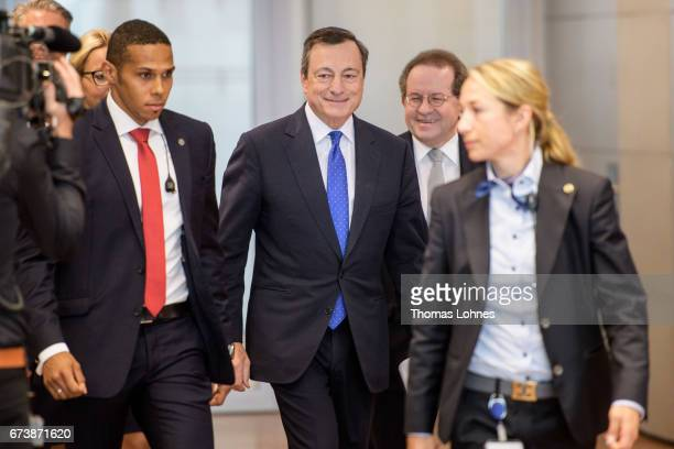 The President of the European Central Bank Mario Draghi and Vice President Vitor Manuel Ribeiro Constancio arrive for the press conference following...