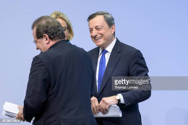 The President of the European Central Bank Mario Draghi and Vice President Vitor Manuel Ribeiro Constancio leave a press conference following the...