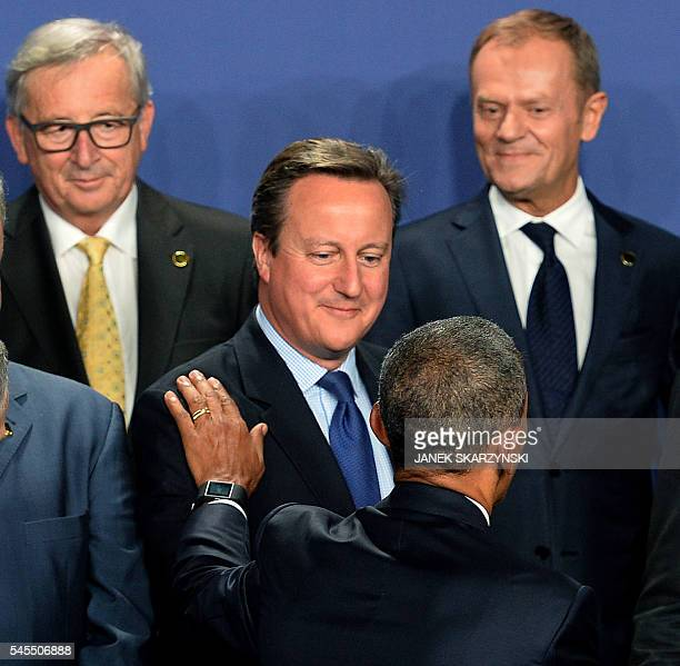 The President of the European Commission JeanClaude Juncker and the President of the European Council Donald Tusk look on as US President Barack...