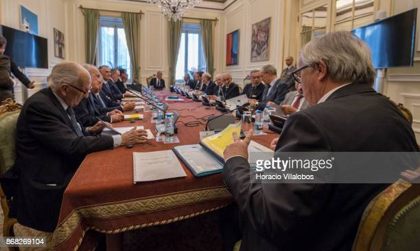 The President of the European Commission JeanClaude Juncker participates of Portugal's State Council meeting with Portuguese President Marcelo Rebelo...