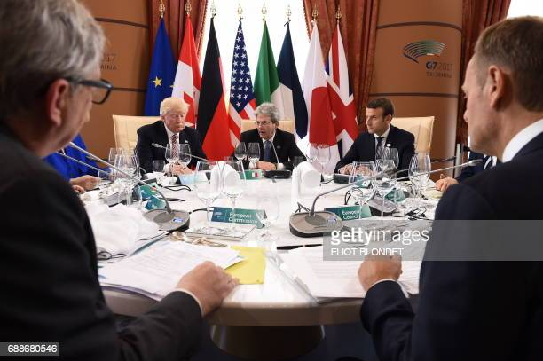 The President of the European Commission JeanClaude Juncker US President Donald Trump Italian Prime Minister Paolo Gentiloni French President...