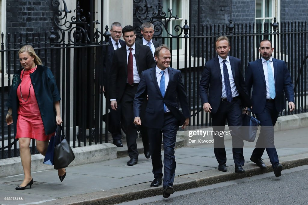 The President of the European Council Donald Tusk (C) leaves 10 Downing Street after a meeting with British Prime Minister Theresa May on April 6, 2017 in London, England. Donald Tusk is meeting Theresa May ahead of the EU27 leaders' meeting on Brexit on April 29, 2017 in Brussels.