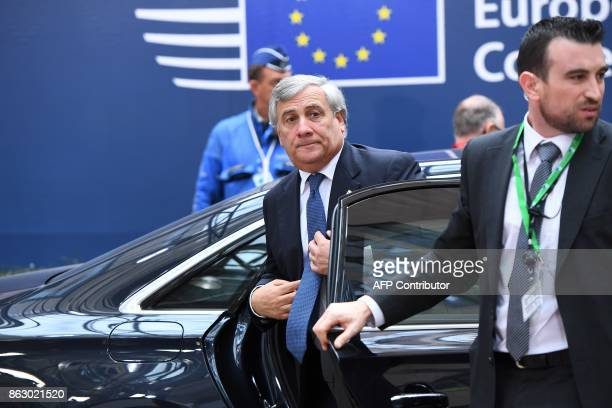 The President of the European Parliament Antonio Tajani arrives in Brussels on October 19 2017 on the first day of a summit of European Union leaders...