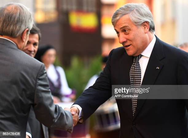 The President of the European Parliament Antonio Tajani is welcomed by authorities upon his arrival to Oviedo on October 20 2017 to receive the 2017...
