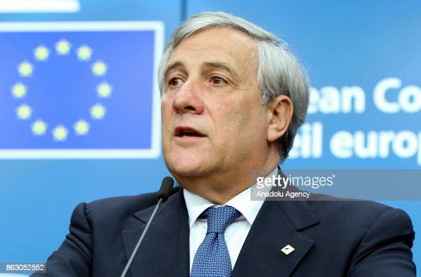 The President of the European Parliament Antonio Tajani speaks during a press conference held after his presentation within the European Council...