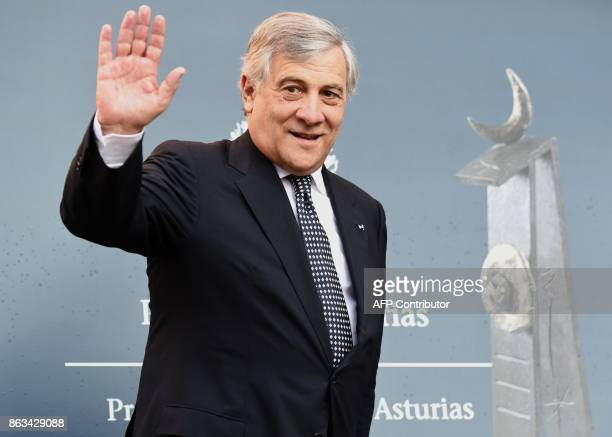The President of the European Parliament Antonio Tajani waves upon his arrival to Oviedo on October 20 2017 to receive the 2017 'Princess of...