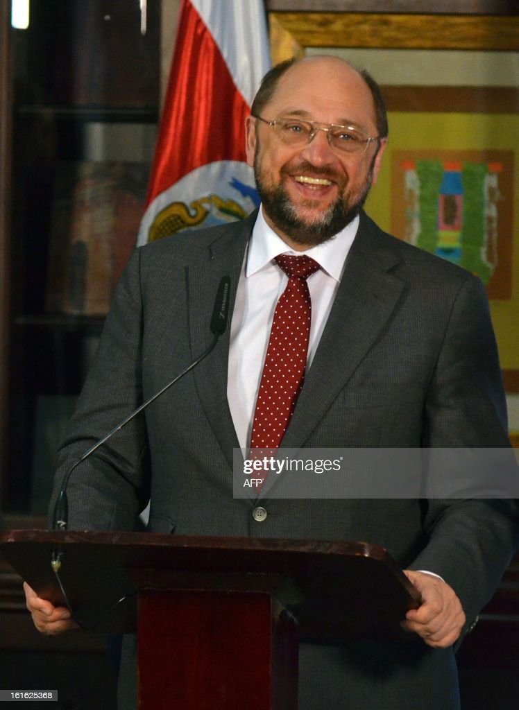 The President of the European Parliament, Martin Schulz smiles during a press conference following a meeting with Costa Rican President Laura Chinchilla (not in frame) on February 13, 2013 in San Jose. Schultz is on a Latin American tour including Mexico, Costa Rica and Colombia. AFP PHOTO/Ezequiel BECERRA