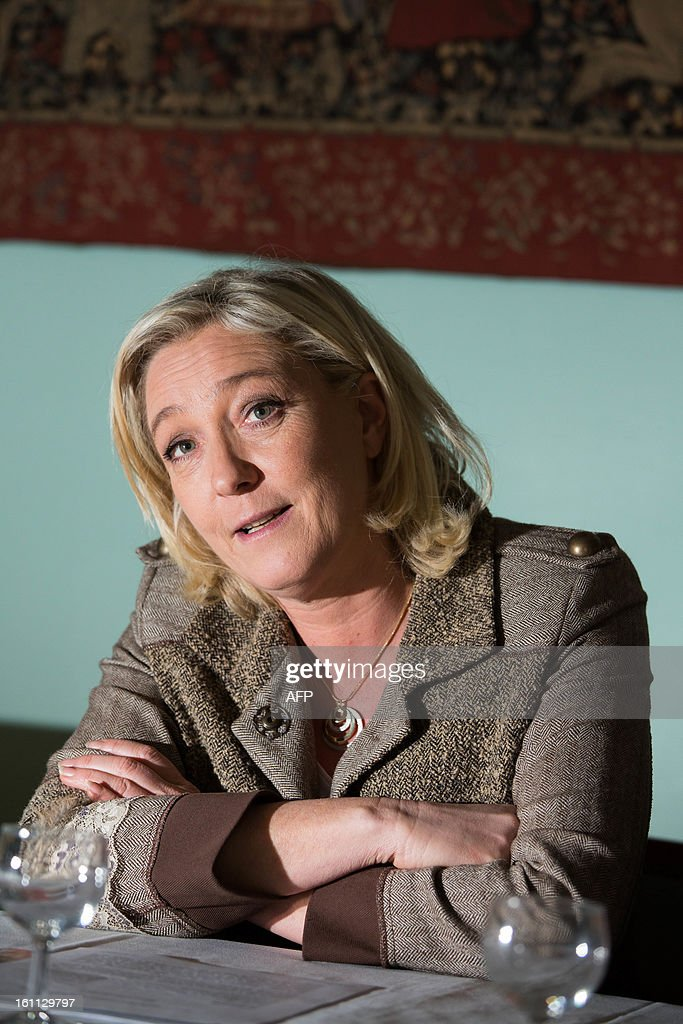 The president of the French far right wing party Front National (FN) Marine Le Pen poses during a visit in La Rochefoucauld on February 9, 2013, to launch a 'France's forgotten Tour'. PIERRE DUFFOUR / AFP PHOTO