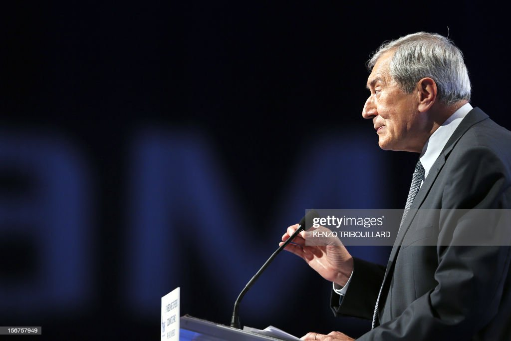 The president of the French mayors' association (AMF), Jacques Pelissard, delivers a speech during the opening ceremony of the 95th French Mayors congress, on November 20, 2012 in Paris.