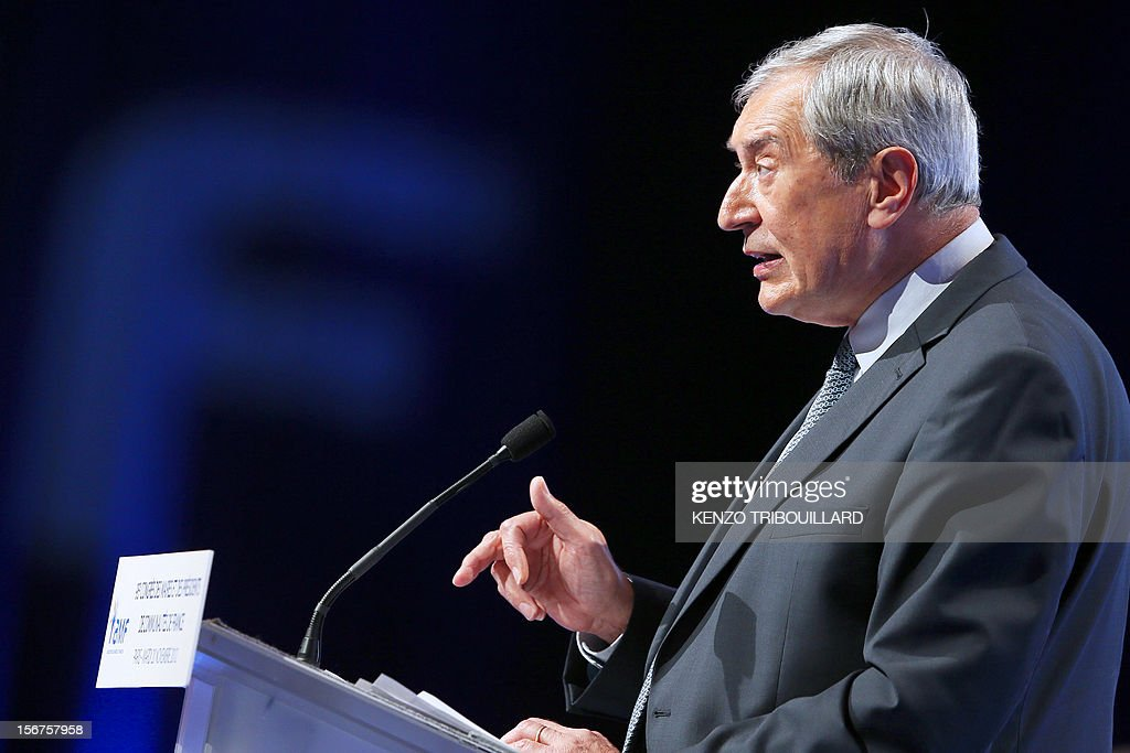 The president of the French mayors' association (AMF), Jacques Pelissard, delivers a speech during the opening ceremony of the 95th French Mayors congress, on November 20, 2012 in Paris. AFP PHOTO KENZO TRIBOUILLARD