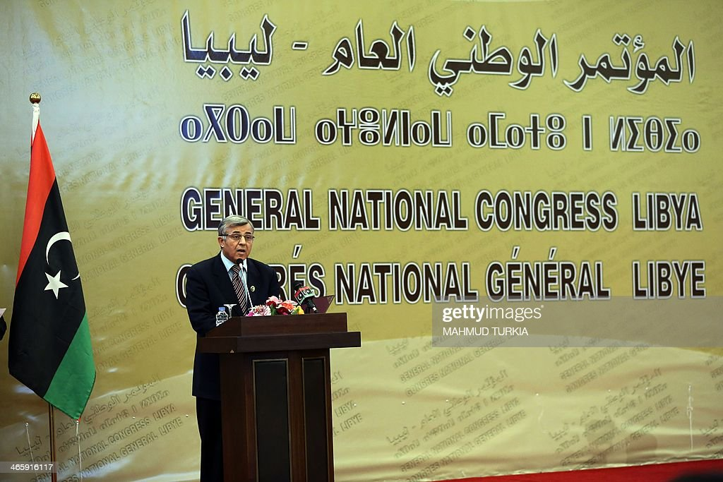 The president of the General National Congress Nuri Abu Sahmein speaks during a ceremony to announce the date for Libyans to go to the polls to...