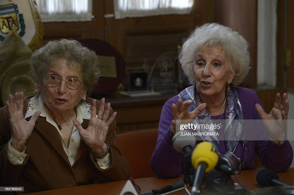 The President of the human rights organization Abuelas de Plaza de Mayo, Estela de Carlotto (R), and Vice-President, Rosa de Roisimblit, speak with journalists in Buenos Aires on March 15, 2013. Carlotto said the entity has 'reproaches' towards Jorge Mario Bergoglio, now Pope Francis, because he never referred to the cases of people who went missing during the 1976-83 Argentine dictatorship -- time in which he was head of the Jesuit order in Argentina. AFP PHOTO / Juan Mabromata